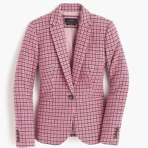 NWT J.crew Campbell blazer houndstooth pink